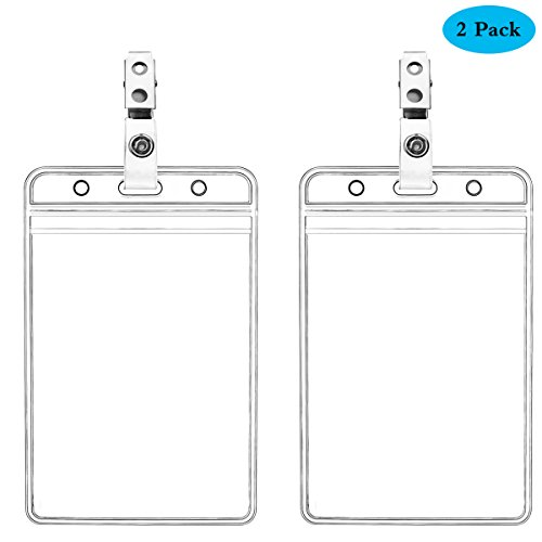 Waterproof Vertical ID Badge Holder Vertical Clear PVC Name Holder Tags with Badge Clip Straps (2 Pack,Vertical)