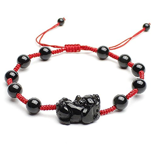 DUlijun Corde rouge bracelet de cheville glace genre de bracelet Pixiu Obsidian