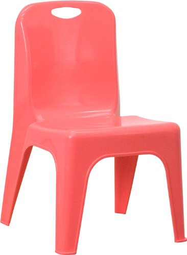 Flash Furniture Green Plastic Stackable School Chair with Carrying Handle and 11'' Seat Height YU-YCX-011-GREEN-GG