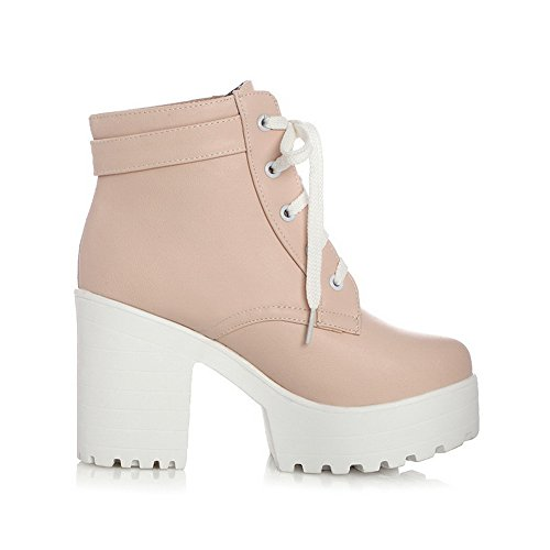 Bandage Casual Boots Ladies Buckle Pink AdeeSu Soft Material t6p5qzAn