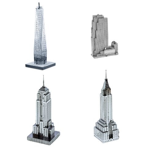 Set of 4 Metal Earth 3D Laser Cut Models: 30 Rockefeller Plaza, Empire State Building, Chrysler Building, & One World Trade Center