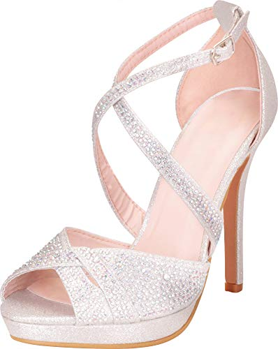 Cambridge Select Women's Peep Toe Crisscross Strappy Crystal Rhinestone Platform Stiletto High Heel Sandal,7 B(M) US,Silver Glitter