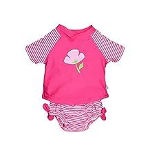 i play Baby Girls' 2 Piece Ultimate Rashguard (Baby) - Fuschia - Small (6 Months)