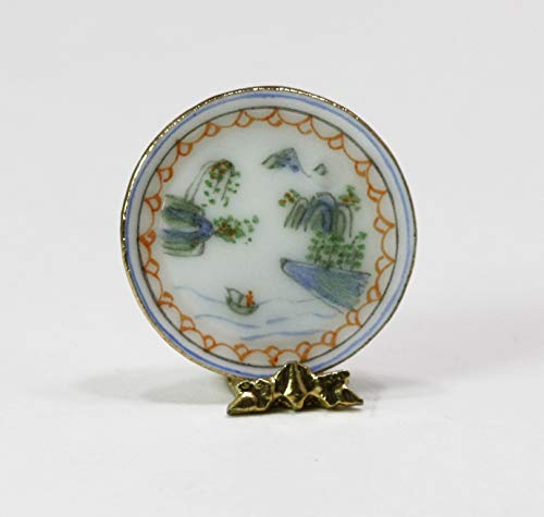 - Dollhouse Miniature Artisan Hand Painted Oriental Landscape Eggshell Porcelain Plate
