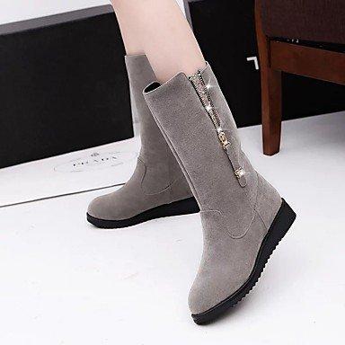 plana botas Casual de para negro CN40 5 Zapatos tacón con Invierno Gris de Calf EU39 US8 Mujer cremallera Mid 5 botas RTRY tela Confort de Otoño UK6 5P0qUqxCw