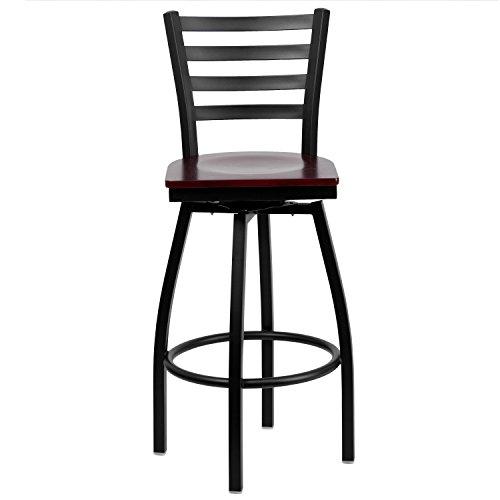 Flash Furniture HERCULES Series Black Ladder Back Swivel Metal Barstool - Mahogany Wood Seat by Flash Furniture (Image #4)
