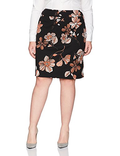 Nine West Women's Plus Size Printed Crepe Slim Skirt, Black/Copper Multi, 14W