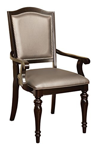 HOMES: Inside + Out ioHOMES Arezza Metallic Upholstered Arm Chair (Set of 2), Brown/Gray