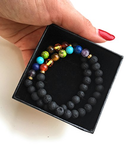 Set of 2 Handmade Couples Yoga Bracelets With Healing Reiki Gem Stone 7 Chakra Natural Matte Agate and Lava Stone For Men, Women, And Teenagers Perfectly Unique Gift For Valentines Day by Lavish Life (Image #3)