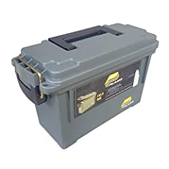 Plano Ammo Cans feature a water resistant O-ring seal to keep your ammo dry and protected. The lid is firmly secured with a brass latch and the heavy-duty handle allows for easy carry. These stackable ammo cans are constructed with durable, h...