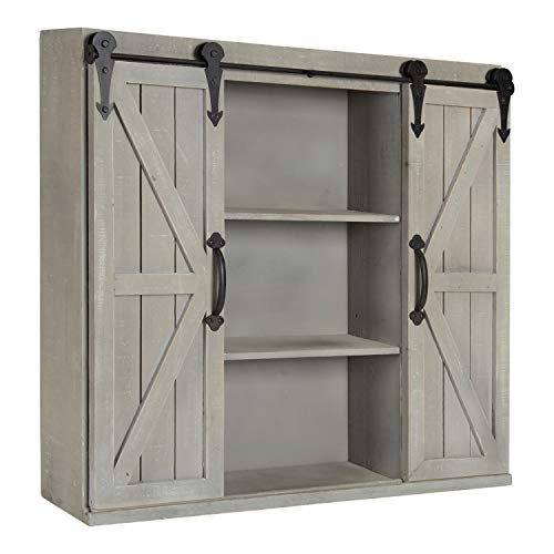 Kate and Laurel Cates Wood Wall Storage Cabinet Two Sliding Barn Doors, Rustic Gray