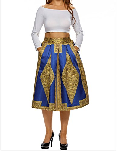 DH-MS Dress Womens Vintage High Waist Africa Print A-lined Midi Skirt goldblue L