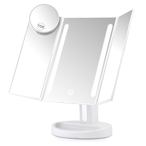 Herwiss Lighted Vanity Makeup Mirror with 10x Magnifying Soft Led Light Illuminated for Beauty Cosmetic Shaving- Auto Off Dual Power Supply 180 Degree Rotation Portable Compact Travel Trifold Mirror