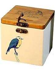 Wooden Solid Wood Bird Pattern Piggy Bank Creative Wooden Storage Bank Money Storage Tank Desktop Storage Box