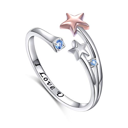 (YinShan 925 Sterling Silver Adjustable Rose Gold Shooting Star Open Ring Engrave I Love You for Women (5))