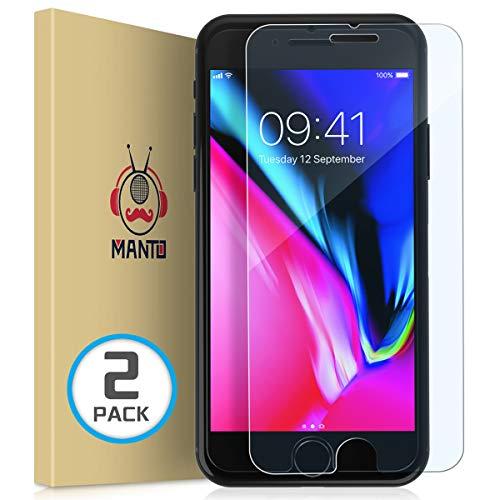 [2-Pack] iPhone 8 Plus 7 Plus 6S Plus 6 Plus Screen Protector MANTO iPhone Screen Protector Compatible with iPhone 8 Plus / 7 Plus / 6s Plus / 6 Plus Tempered Glass with Easy Aligning Frame, Clear -  GHM-IP7PL-033-2