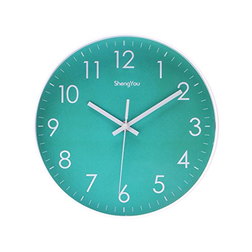 413 KJ7LC4L - SonYo Indoor Non-Ticking Silent Quartz Modern Simple Wall Clock Digital Quiet Sweep Movement Office Decor 10 Inch(Bluegreen)