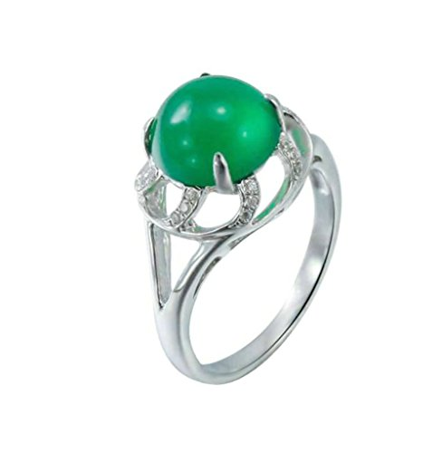 Daesar Sterling Silver Rings Wedding Bands for Women Hollow Round Green Chalcedony White Size 7