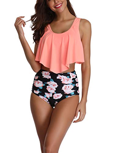 Amstt Bikini Two Piece Swimsuits for Women High Waisted Tummy Control Bathing Suits Top Ruffled with Swim Bottom Tankini Set Pink from Amstt