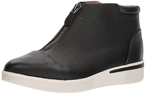 Leather Sneakers Wedge (Gentle Souls by Kenneth Cole Women's Hazel-FAY Platform Midtop Sneaker Front Zip Shoe, Black Leather, 7 Medium US)