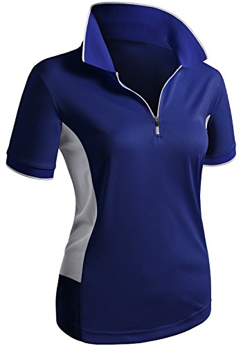 CLOVERY Breathable Functional Coolmax Fabric Short Sleeve Zipup POLO Shirt COBALT US L/Tag L]()