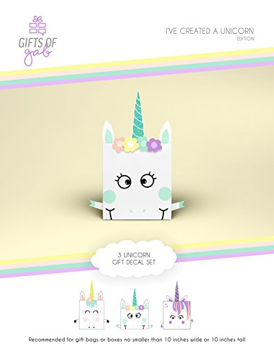 Unicorn Gift Bag Decoration, Unicorn Gift Wrap Embellishment Craft Kit, Design and Decorate 3 Unicorn-Themed Gift Bags for Kids - Gift of Gab