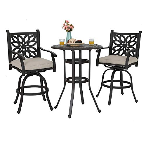 PHI VILLA Outdoor Cast Aluminum Bistro Swivel Height Bar Stools and Table Furniture Set of 3 - Design for DIY ()