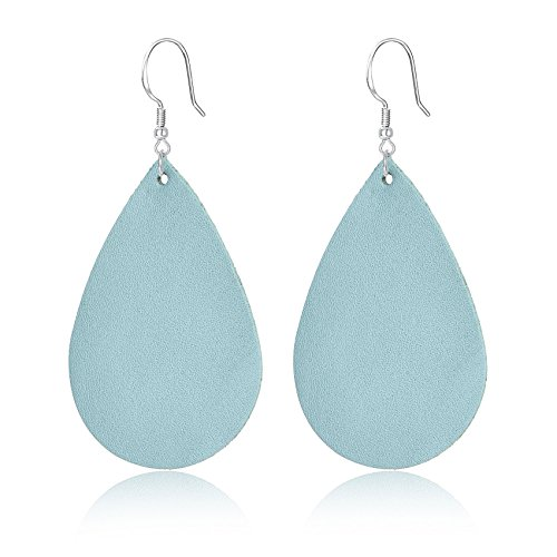 Unique Leather (Genuine Leather Teardrop Earrings Handcrafted Unique Jewelry for Women Girls Light Blue)