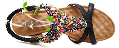 et pour Sandales cheville à sangle compensées perles noir femmes bride multicolores Insun trrYIq