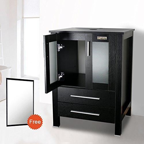 Eclife modern 24 bathroom vanity pedestal cabinet set pedestal stand wood black with bathroom for Bathroom vanity with mirror doors