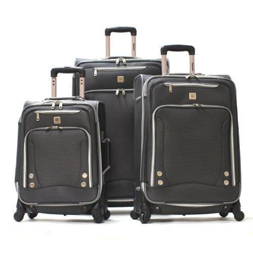 Olympia Luggage Skyhawk 3 Piece Luggage Set,Black,