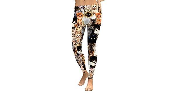 YUJIAKU Leggings para Mujer Gato Encantador Hologrephic Impresión Digital Fitness Legging Pantalones de Entrenamiento de Cintura Alta Casual Street Leggins: Amazon.es: Deportes y aire libre