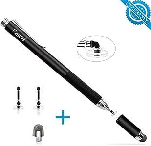 Ciscle Stylus Pen Touch Disc 2 Disk de Tip 1 Fiber Tip Pen 2 en 1 Universal de accisión Pantalla táctil capacitiva Stylus para Samsung, iPhone, iPad (Negro)
