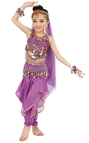 Cielary Kids Girls Belly Dance Halter Top Harem Pants Costume Set Halloween Outfit with Head Veil Waist Chain and Bracelets (S(Height: 39