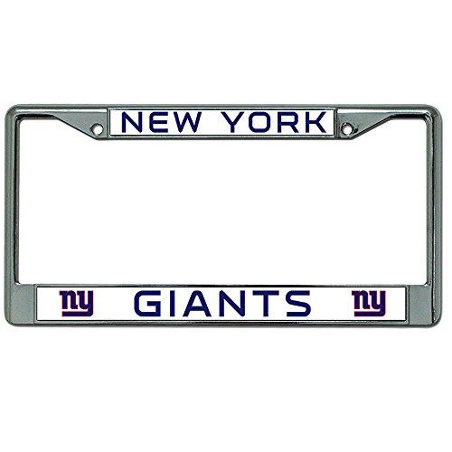 New York Giants NFL Team Logo Auto Car Truck SUV Vehicle Universal-fit License Plate Frame - Chrome Metal - Single