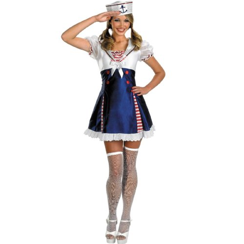 Ahoy Matey Adult Costumes (Disguise Unisex Adult Teen Ahoy Matey, Red/White/Blue, JR (7-9) Costume)