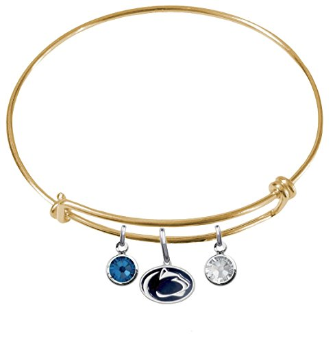 Penn State Nittany Lions GOLD Expandable Wire Charm Bracelet Bangle w/ Team Color Crystals