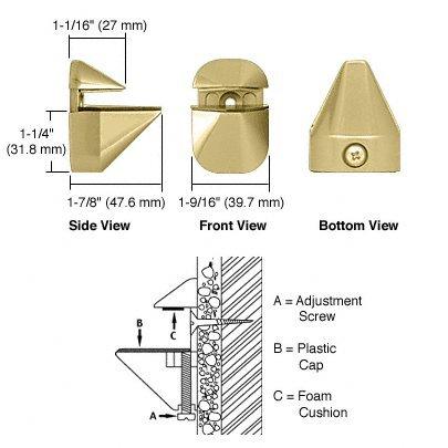 CRL Brass Adjustable Glass Shelf Bracket - Pair