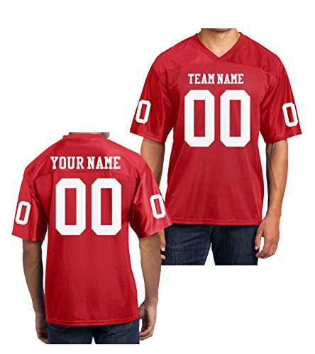 Custom Football Replica Team Jersey (X-Large, Red - White Font) ()