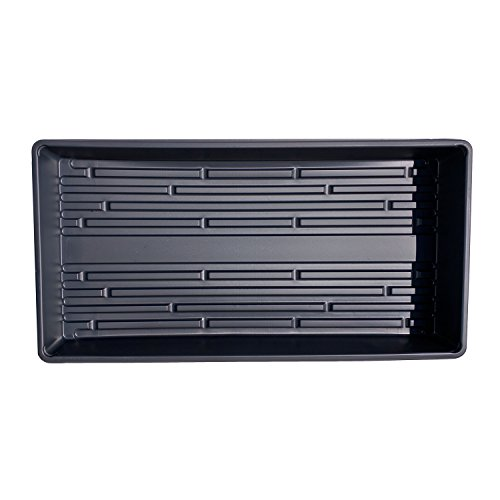 Seed Starting Trays - Now Heavier Plastic - Made in USA - 1020 Trays Solid Bottom Premium Quality - Garden, Greenhouse, Hydroponics, Wheatgrass, Microgreens (Black No Holes, 25 Pack) by Second Sun Hydroponics