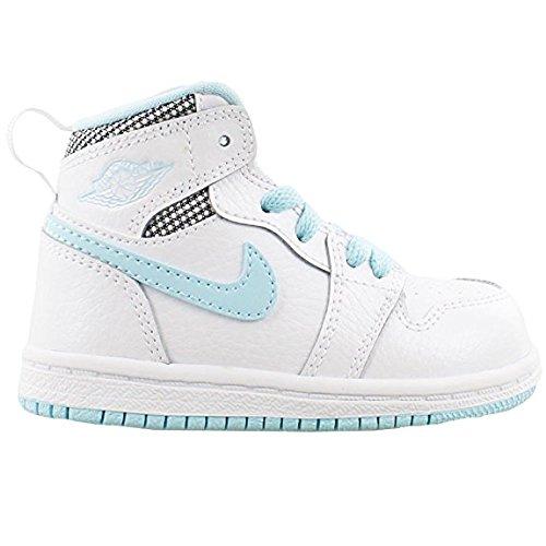 Jordan Retro 1 High White/White-Still Blue-White (Toddler) (10 M US Toddler) White/White-still Blue-white