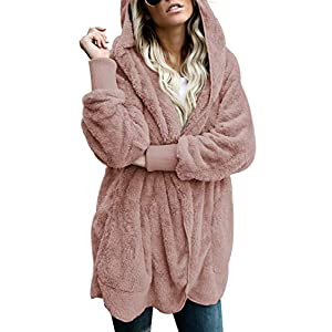 Dokotoo Womens Long Sleeve Solid Fuzzy Fleece Open Front Hooded Cardigans Jacket Coats Outwear with Pocket