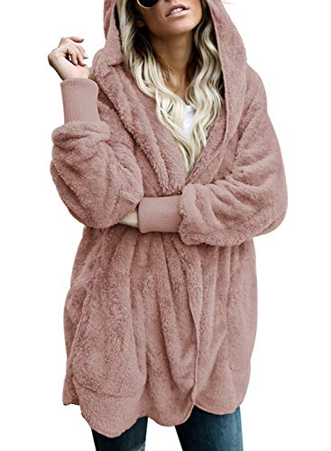 (Lovezesent Womens Plus Size Casual Fleece Open Front Cardigan Hooded Coat Oversized Outwear Jackets with Pockets Pink XL)