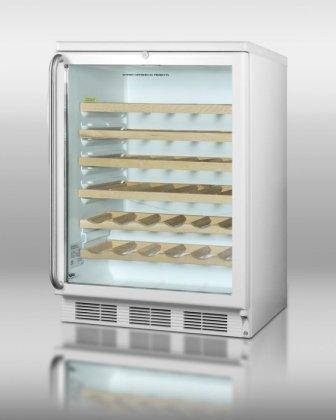 (Summit SWC6GWLSHWO Glass Door Wine Cellar With 48 Bottle Capacity Factory Installed Lock Hidden Evaporator Interior Light &)