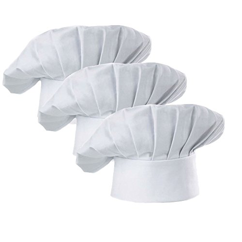 WJINER Chef Hat Set of 3 Adult Adjustable Elastic Baker Kitchen Cooking Chef Catering Cap,White or Black (White)