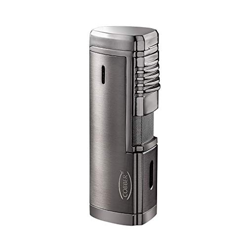 Cobber Torch Cigar Lighter, Quad 4 Jet Red Flame Refillable Butane Cigar Lighter with Punch, Large Size (Gunmetal Gray) ()