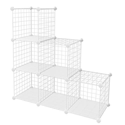 SONGMICS Metal Wire Cube Storage,6-Cube Shelves Organizer,Stackable Storage Bins, Modular Bookcase, DIY Closet Cabinet Shelf, 24.8
