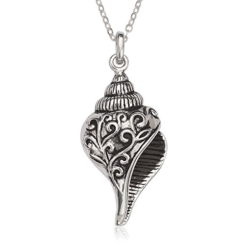 (Beaux Bijoux Sterling Silver Oxidized Seashell Pendant with 18