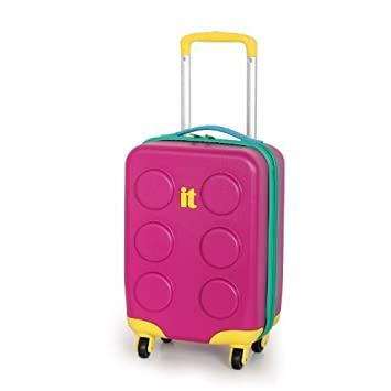 IT Luggage Pink Cabin 47cm Kids Buliding Block Suitcase: Amazon.co ...