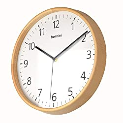 Extra Large 14 Wooden Analog Wall Clock Scandinavian Design. Beautiful Natural Beech Wood Frame & Wooden Back. Silent Mechanism, Battery Powered, Perfect for Living Room, Kitchen, Kids Bedroom